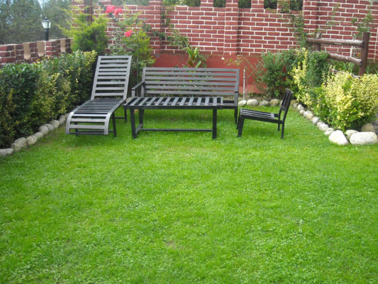 Himachal Valley Cottages in Manali - Lawn with Sitting Place